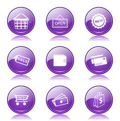 Shopping Sign Violet Vector Button Icon Design Set 2