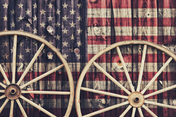 Antique Wagon Wheels with USA flag
