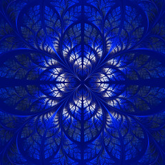 Symmetrical pattern of the leaves in blue. Collection - tree fol