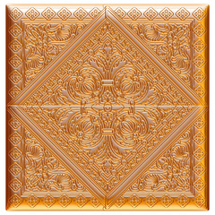 Vintage gold background, 3D jewelry frame on isolated white.