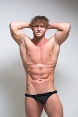 Sexy very muscular male model in underwear