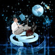 Internet.Businessman with laptop and globe planet with lock