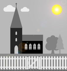 church with white picket fence in bright sunlight