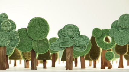 Growing forest made of wool and wood - stop motion animation