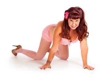 pin-up in pink ruffled lingerie