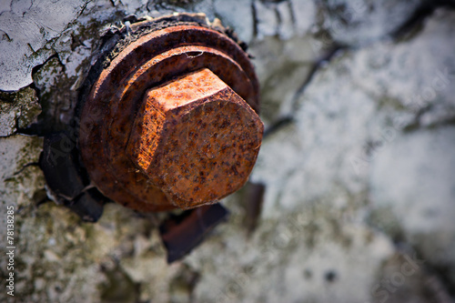 canvas print picture Old Weathered Rusted Hex Bolt Close Up Background