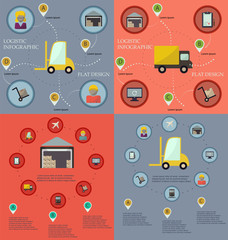 Collection of logistic flat infographics