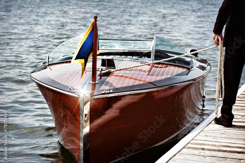 Leinwanddruck Bild Wooden Motor Boat