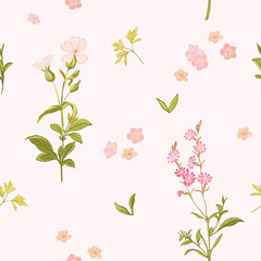 Flower Background - Seamless Floral Shabby Chic Pattern