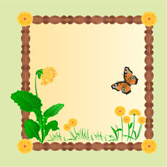 Frame spring flower primrose with butterfly vector
