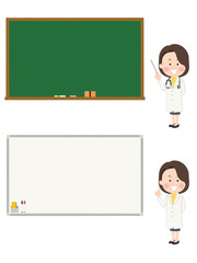黒板・ホワイトボード_女医