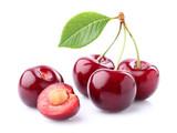 Fresh cherry with leaf