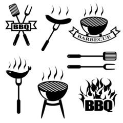 BBQ, set icons, logos,badges, labels