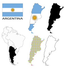 Argentina Flag, four vector map contours and South America flag