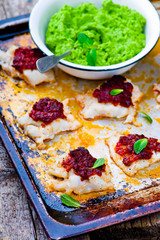 the baked cod with green pea