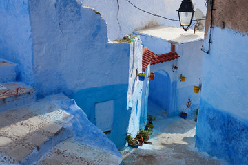 The narrow street  in the medina, Chefchaouen, Morocco