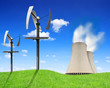 Nuclear power plant and wind turbines - Green energy concept