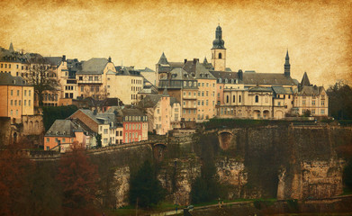 Skyline of Luxembourg City.   Added paper texture