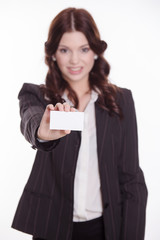 Business woman show the business card