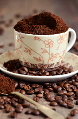 Ground coffee and coffee beans.