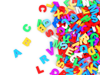 Heap of Colorful Letters. Education Concept