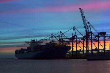 Container Cargo Ship Silhouette