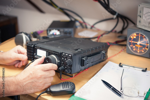 Amateur radio station: closeup of an a radio transciever - 78144636