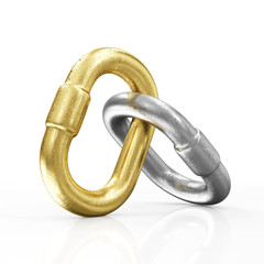 Golden and Silver Chain Links Icon isolated on white background