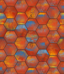 Colorful Hexagonal Tiled Seamless Texture