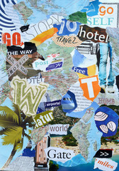 moodboard of magazines with a travel concept