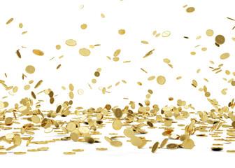 Rain from Golden Coins. Falling Gold Coins