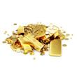 Heap of Treasure. Golden Bars, Coins and Golden Pieces