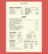 Menu Design for Lunch Restaurant Cafe Graphic Design Template la - 78145071