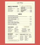 Menu Design for Lunch Restaurant Cafe Graphic Design Template la - 78145071