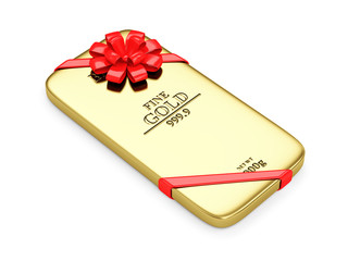 Flat Golden Bar with Red Ribbon and Bow