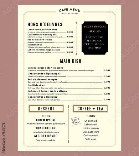 Menu Design for Restaurant Cafe Graphic Design Template layout V - 78145078