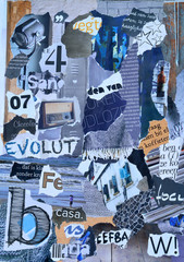 moodboard of magazines in grey, blue,wooden colors