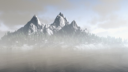 Majestic rugged mountain range in winter