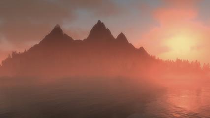 Misty sunrise over jagged mountain peaks