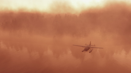 Seaplane flying over foggy or misty forest