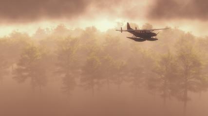 Float plane flying in fog or mist