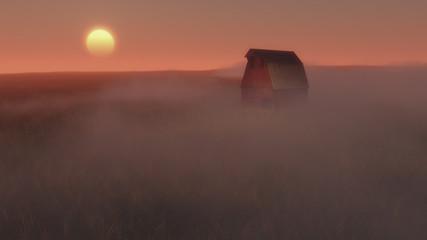 Barn enveloped in mist at sunrise