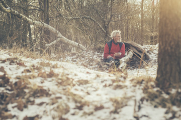 Old Lonely Man Resting at the Woods