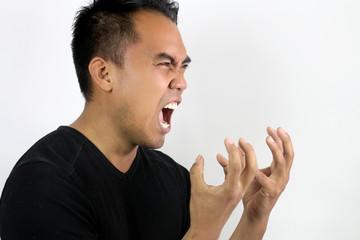 man shouting with rage