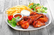 Main Dish with Fried Chicken, Fries and Veggies - 78146260
