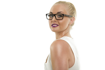 Confident Woman with Glasses Looking at Camera