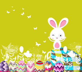 easter eggs floral with bunny