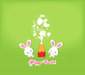 happy easter egg and bunny funny greeting card