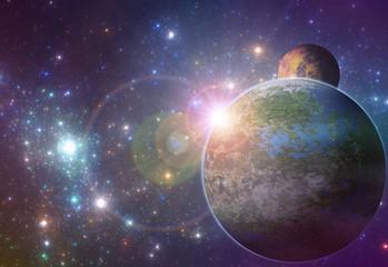 Sunrise over  fantasy alien planet