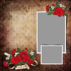 Vintage love background with frames and roses